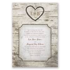 Rustic Invitations Birch Tree Carvings Invitation Invitations By Dawn