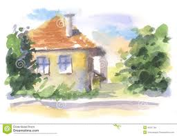 Landscape With Houses by Watercolor Landscape With Houses Stock Illustration Image 45307763