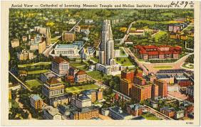 aerial view cathedral of learning masonic temple and mellon