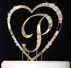 letter cake topper flower single heart with large letter cake topper set