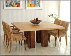 Square Dining Room Table by Solid Wood Modern Rustic Block Pedestal Square Dining Table For 8