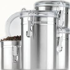 kitchen canister sets stainless steel amazon com anchor hocking round stainless steel canister set with