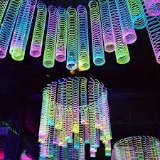 Neon Themed Decorations Slinkies Definitely Made A Comeback At Our Event Party Diy