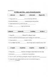 english worksheets of mice and men parts of speech practice