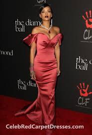 rihanna off the shoulder red mermaid prom dress diamond ball