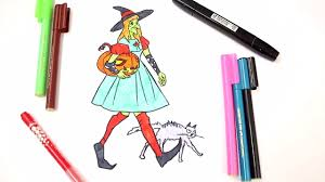 halloween witch with a pumpkin coloring book scary color book