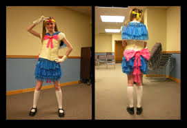 sailor moon costume made out of condoms worn on a young