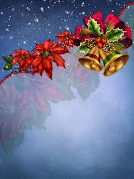 blue christmas background with bells and bow gallery