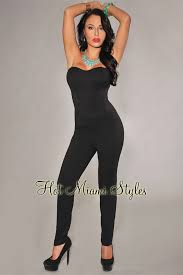 fitted jumpsuit fitted strapless padded jumpsuit