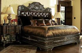 King Sized Bed Set High End Master Bedroom Set Carvings And Tufted Leather Headboard