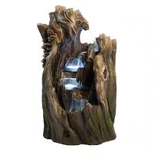 fountains for home decor walnut log indoor outdoor garden fountain w led lights