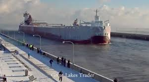 watch this ghostly ice covered ship arrive in duluth gomn