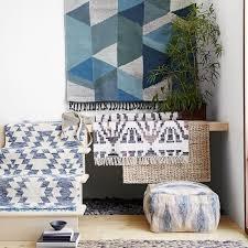 Porcelain Blue Rug Geo Shag Wool Kilim Rug West Elm