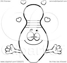 lineart clipart of a cartoon black and white loving bowling pin