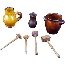 set of german children u0027s miniature pottery kitchen vessels with