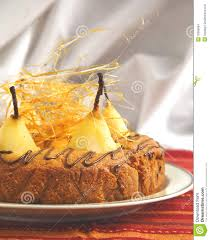 cake with pears with spun sugar strands stock images image 33898964