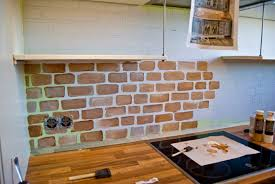 brick veneer backsplash painting over faux painted in kitchen from