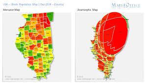 map usa illinois us illinois map county population density