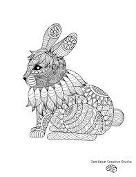 rabbit digital coloring page u2014 zen brain design