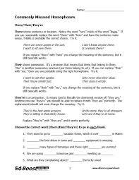 4th grade homophones worksheet worksheets