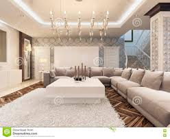 luxury art deco design bright living room with large corner sofa