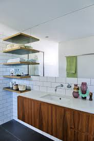 white and or walnut in midcentury bathroom