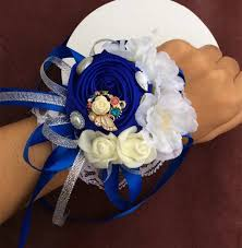 royal blue corsage 3pces lot high quality wrist corsage royal blue bridesmaid