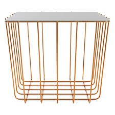 contemporary coffee table marble tempered glass copper