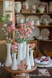 Pink Milk Glass Vase Milk Glass And Mini Boxwood Wreaths For Valentine U0027s Day