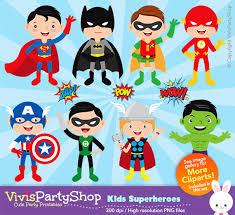 superheroes clipart printable instant download png files