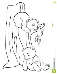 coloring pages wild animals two little cute baby bears stock