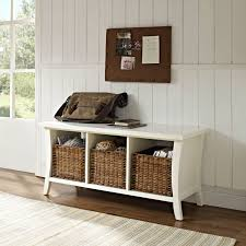 brown wooden bench with shoes storage and coat hook on ceramics