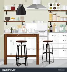 kitchen interior modern home food cooking stock vector 330204080