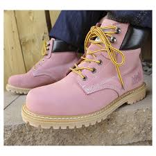 womens boots work safety steel toe work boots light pink