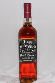 anniversary wine bottles 25th anniversary wine bottle labels silver anniversary happy