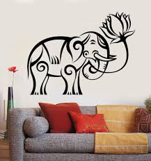Elephant Wall Decal For Nursery by Vinyl Wall Decal Indian Elephant Lotus Religion Buddhism Stickers