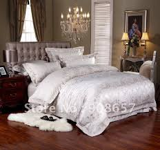 Buy Cheap Comforter Sets Online New Luxurious Silver Floral Prints Satin Cotton Fabric Luxurious