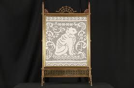sold bronze 1870 antique fireplace screen crochet cat