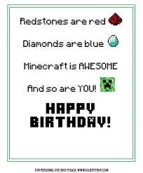 free printable birthday cards for kids gangcraft net minecraft birthday card gangcraft net