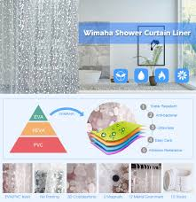 Amazon Shower Curtains Amazon Com Nontoxic Eva Shower Curtain Clear Wimaha Mildew