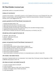 quizlet com nc real estate license law real estate broker license