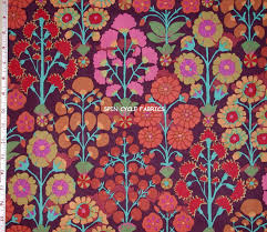 fabric 1yd kaffe fassett sprays gp107 brown flower garden