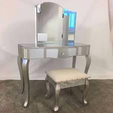 silver vanity table set champagne silver glass mirrored dressing table mirror u0026 stool set