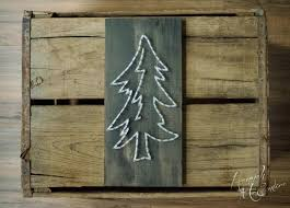 pine tree string art rustic home decor rustic christmas
