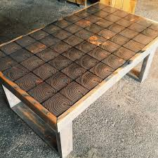 coffee table hand made mixed wood mosaic end grain top coffee