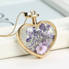 heart shaped charm necklace images Heart shaped pressed flower charms pendant necklace jpg