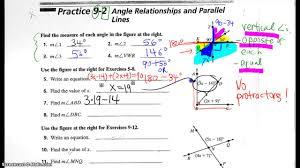 9 2 angle relationships practice wkst youtube