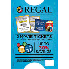 tickets gift card regal entertainment premiere ticket 2 pk with 10