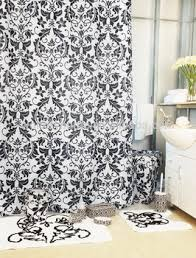 Bathroom Sets With Shower Curtain And Rugs And Accessories Luxury Damask Black Bathroom Set Shower Curtain With Bath Rug Sets