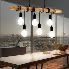 Wohnzimmerlampe Holz Hängelampen Mit 4 6 Lichtern Aus Holz Ebay